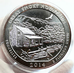 2014 United States Great Smoky Mountains Tennessee 5 Oz Pfl Silver Medal I96706