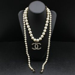 Auth Necklace Metal Costume Pearl Strass Gold Crystal Coco Mark Cc Logo