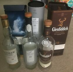 Oban 18, Talisker 18 And Glenfiddich 19 Scotch Whisky Empty Bottles And Boxes