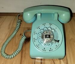 Vtg Aqua Blue Western Electric Bell System Rotary Dial Desk Phone 500 Teal Works