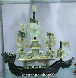 19 China Natural Dushan Jade Carve Dragon Dragons Boat Ship Ferry Vessel Statue