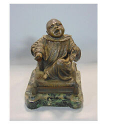 Good Quality Antique Novelty Bronze Chinese Boy Ink Stand / Striker C.19th