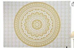 Mandala Tapestry Wall Hanging for Bedroom Blue and Gold