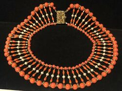 Miriam Haskell Collar Necklace Rare Vintage Signed Gilt Coral Glass Beads Pearl