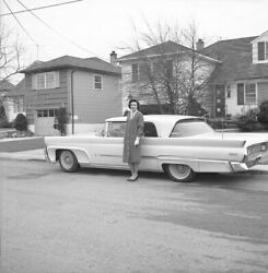 1960s Classic Car White Wall Tires Large Cruiser Woman Vintage Photo Negative
