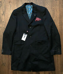 Nwt Ted Baker Endurance Cashmere Wool Overcoat Black Mens Size 44 R 699
