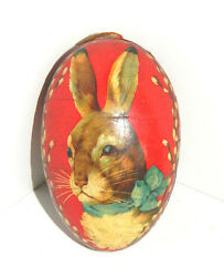 Early Vtg German Red Paper Mache Rabbit Easter Candy Container Orig.loop+fabric