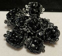 """Miriam Haskell Brooch Rare Vintage 2-1/2"""" Signed Jet Black Glass Mourning Pin"""