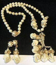 Miriam Haskell Necklace Earrings Set Gilt Ivory Glass R/s Rare Vintage Signed