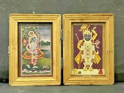 Old Vintage Rare Hindu Religious Gods Print With Folding Wooden Frame Andglass Box