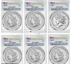 2021 P Cc O D S Morgan And Peace Dollar Pcgs Ms70 First Strike 6 Coins Set