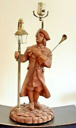 Vtg Carved Wood Table Lamps American Colonial Ben Franklin / Revere Lamplighter