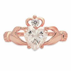 1.06 Ct Heart Cut Real Certified Cultured Diamond 18k Rose Gold Claddagh Ring