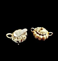 Vintage Nippon Hand Painted Gold Encrusted Creamer And Sugar Bowl W/ Lid/great
