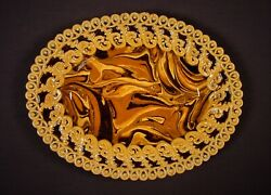 Extremely Rare 1800s Marbled Agate Platter Mocha Ware Agateware Yellow Ware Mint