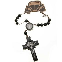 Car Auto Rosary Beads St Benedict Black Wood Catholiccord Rear View Mirror