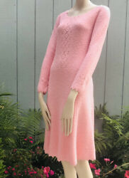 Vintage Deadstock St. John Knits Soft Pink Long Sleeved Knit Fit And Flare Dress