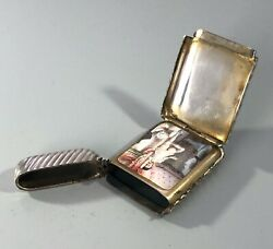 Antique French Silver And Enamelled Folding Vesta Case Ezx