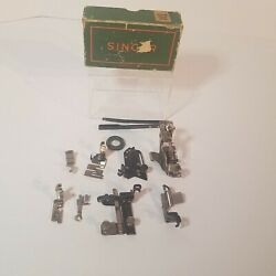 Assorted Lot Vintage Singer Sewing Machine Box Parts Feet And Accessories