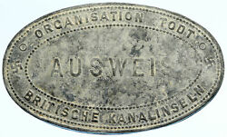 1940and039s Jersey Under Germany World War Ii Vintage Old Ausweis Coin I97169