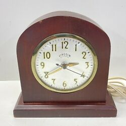 Vintage Lincoln Electric Self Starting Small Wood Mantle Clock - Working