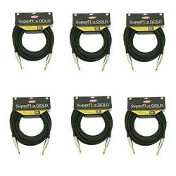 6 Osp Superflex Instrument Guitar 1/4 Cables 20and039 High Quality - Gold Contacts