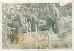 Org Wwii German Army Luftwaffe Large Real Photo- Cemetery- Coffin- Burial Detail