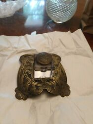 Art Nouveau Inkwell. Bronze Viking Pattern With Eagles Crystal Inkwell