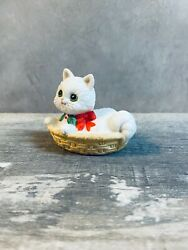"""Lefton Vintage Holiday Cat In A Basket With Beautiful Eyes 3"""""""