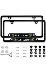 2 Pcs U.s. Army License Plate Frame,matte Black Stainless Steel - Screws Incl.