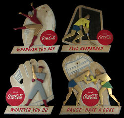 1950s Coca-cola Sports-themed Advertising Signs Near Set 4/5