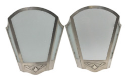 Pair Of Allan Adler Art Deco Sterling Silver And Frosted Glass Sconces