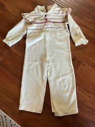 Vintage Bull Frog Knits Romper one piece knit 3T 4 Ruffle 70s