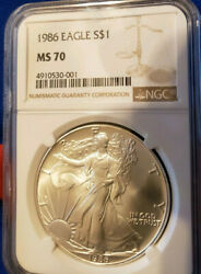 American Silver Eagle Coin 1986 Ngc Graded Ms70