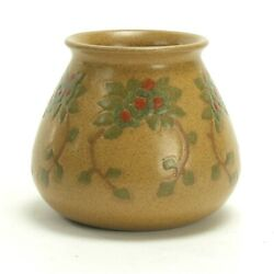 Marblehead Pottery Floral Decorated Vase Arts And Crafts Matte Yellow Green Blue