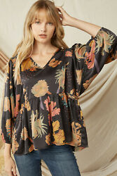 Entro Floral Printed V-neck Tiered Top