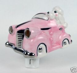 Henry Cavanagh Poodles Pink Car 3d Ceramic Night Light And A White Poodle Driving