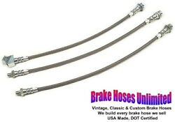 Stainless Brake Hose Set Ford Mustang 1965 1966 Front Disc Single Exhaust