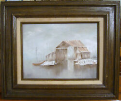 Joanne D Old Oil Painting Wood Framed Art Picture Farm