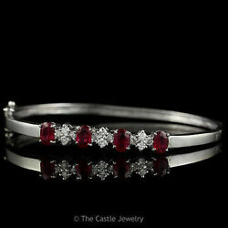 Ruby And Diamond Hard Bangle Bracelet In 14k Solid White Gold