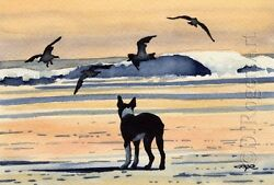 BOSTON TERRIER BEACH Dog Painting 8 x 10 ART Print Signed DJR