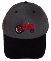 Farmall Tractor Embroidered Grey Black Hat - Cap Gift Fits Most