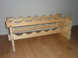 Modular Stackable Wine Rack Made Of Solid Russian Pine Wood - 12-72 Bottles