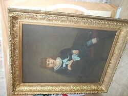 Fine Large Victorian Oil Painting Young Girl Portrait Ornate Gilded Frame