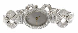 Custom Made Ladies 7.47 Carat Diamond Wristwatch in 18 kt White Gold