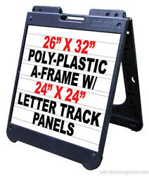 Poly A-frame 26x 32 Sidewalk Sign W/letter Track Inserts And Letters