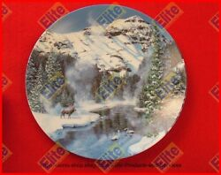 Natures Legacy Series Winter Peace In Yellowstone Park Plate - Mib Coa