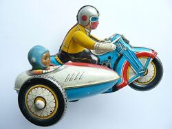 Vintage Ms-709 China 605 Wind Up Tin Toy Motorcycle With Sidecar