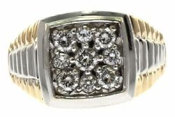 Men's One Carat Diamond Ring In 14 Kt Two-tone With Solid Back Size 14.5