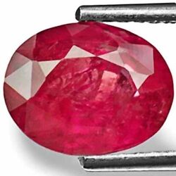 Igi Certified Vietnam Ruby 2.78 Cts Natural Untreated Lustrous Pinkish Red Oval